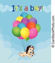 nouveau né, illustration, bas, bébé, tomber, ballons, dessin animé