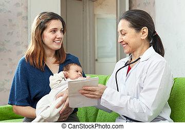 nouveau-né, mère, pourparlers, docteur