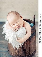 nouveau né, mignon, bébé, portrait, dormir