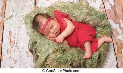 nouveau né, mignon, girl, bébé