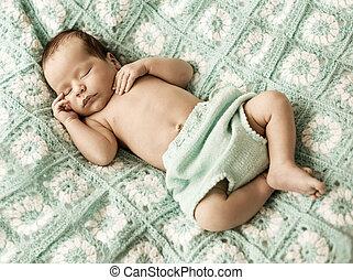 nouveau né, mignon, portrait, enfant