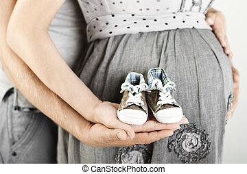 nouveau-né, parents, butins, mains