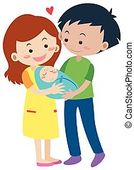 nouveau-né, parents, famille