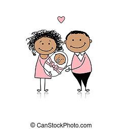 nouveau-né, parents, heureux