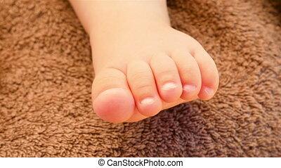 nouveau né, pieds, gros plan, baby.
