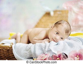 nouveau né, portrait, enfant