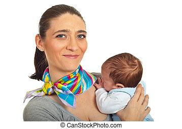 nouveau né, portrait, mère