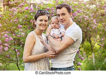 nouveau né, printemps, couple, jeune, fils