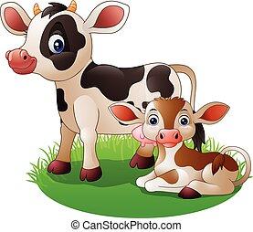 nouveau né, vache, dessin animé, veau