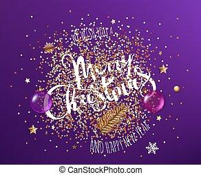 nouveau, noël, fond, différent, nous, heureux, year., éléments, vous, joyeux, violet