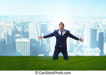 nouveau, occasion, excité, business, homme affaires