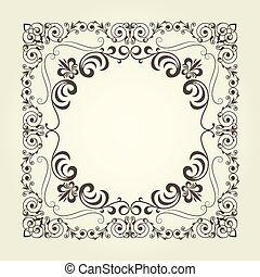 nouveau, ornamental, cuadrado, arte, rizado, patrón, marco