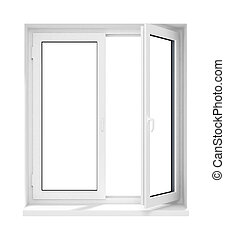 nouveau, ouvert, plastique, fenêtre verre, cadre, isolé