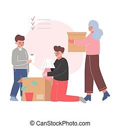 nouveau papa, appartement, fils, replacer, boîtes, emballage...