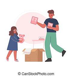 nouveau papa, appartement, replacer, boîtes, sien, emballage...