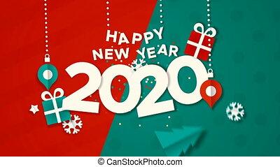 nouveau, papier, année, carte, vidéo, animation, 2020, heureux, coupure