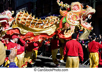 nouveau, parade, chinois, année