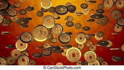 nouveau, pièces, année, seamless, doré, 3d, fond, rendre, texture., chinois, 4k, boucle