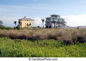nouveau, plage, maisons