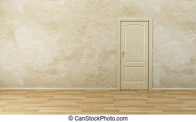 nouveau, porte, salle, vide