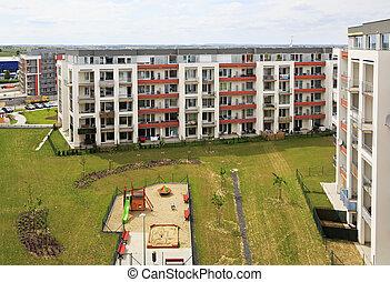 nouveau, résidentiel, complexe, dans, prague.