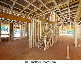 nouveau, résidentiel, construction maison