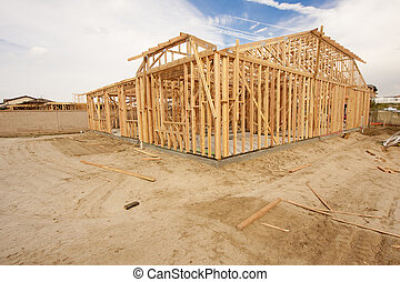 nouveau, résumé, construction, encadrement, maison