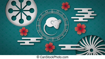 nouveau, rat, roue, rotation, 4k, animation, année, chinois