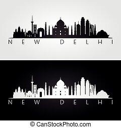 nouveau, repères, delhi, silhouette, horizon