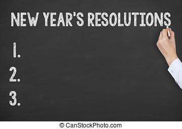 nouveau, resolutions, années, tableau noir