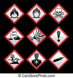 nouveau, sécurité, symboles, danger, signes, arrière-plan noir