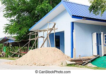 nouveau, sable, construction, tas, maison