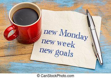 nouveau, semaine, buts, lundi