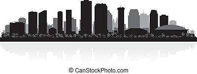 nouveau, silhouette horizon, orléans, ville