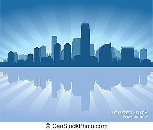 nouveau, silhouette horizon, ville jersey