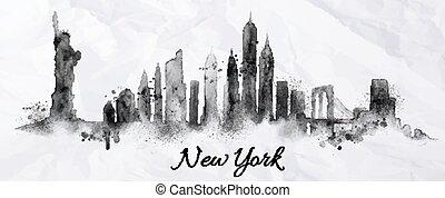nouveau, silhouette, york, encre