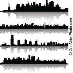 nouveau, silhouettes, york, ville