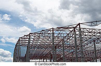 nouveau, site., cadre, construction, bâtiment