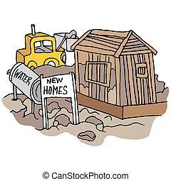 nouveau, site construction, maison