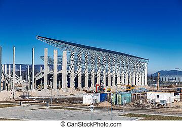 nouveau, site, football, construction