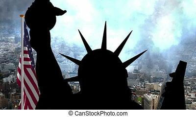 nouveau, statue, york, drapeau, usa, contre, liberté
