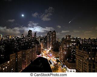 nouveau, sur, york, lune