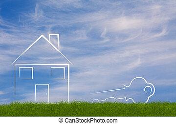 nouveau, symbolique, maison