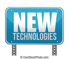 nouveau, technologies, concept, signe