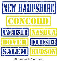 nouveau, timbres, villes, hampshire