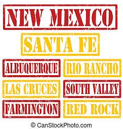 nouveau, timbres, villes, mexique