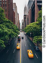 nouveau, trafic, york, route