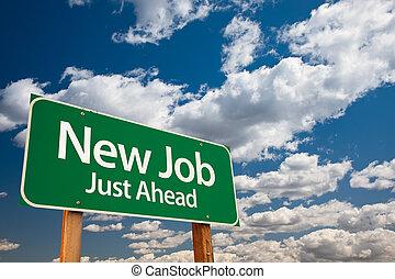 nouveau travail, vert, panneaux signalisations