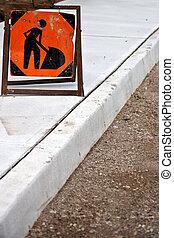nouveau, trottoir, construction