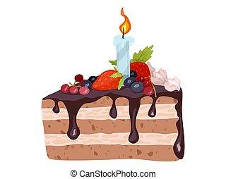 nouveau, vecteur, fruit, dessin animé, couper, gâteau, crème, dessin